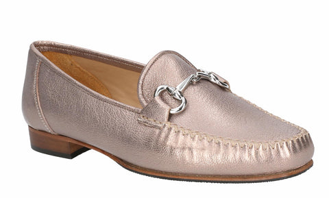 HB Hadden 547 Womens Metallic Leather Slip On Moccasin Shoe