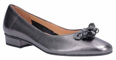 HB Jest Womens Bow and Toggle Trim Dress Pump Pewter