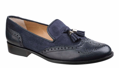 HB Keelby 5756 Womens Brogue Detail Slip On Loafer With Tassel Trim Navy/Navy S