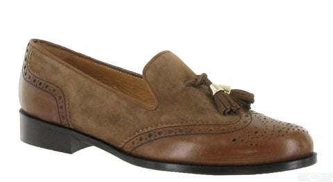 HB Keelby 5756 Womens Brogue Detail Slip On Loafer With Tassel Trim