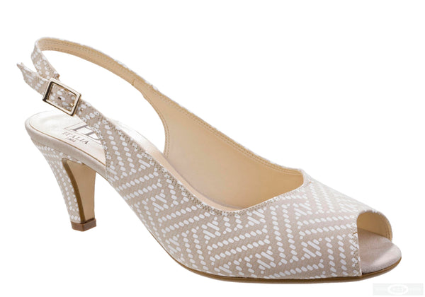 HB Mary B272 Womens Print Detail Peep Toe Slingback Dress Sandal Beige Aztec