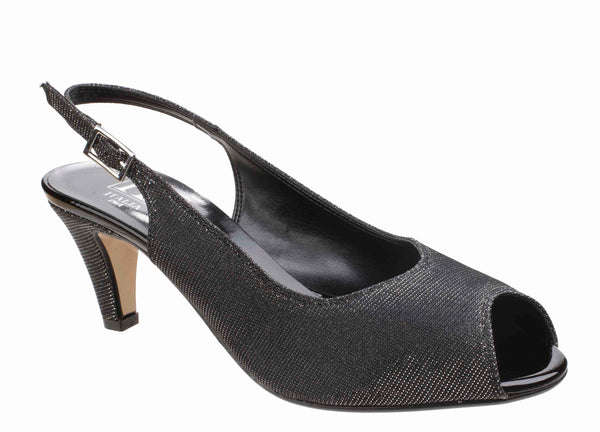 HB Mary B272 Womens Peep Toe Slingback Dress Sandal Black Sparkle