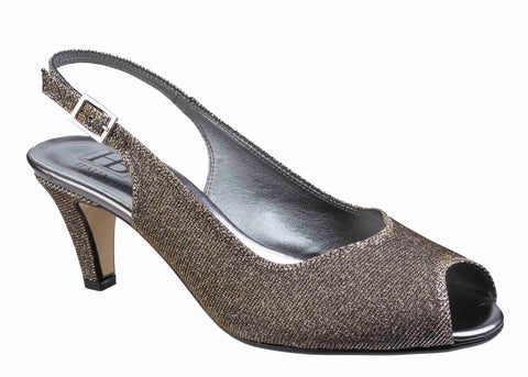 HB Mary B272 Womens Peep Toe Slingback Dress Sandal Silver Sparkle