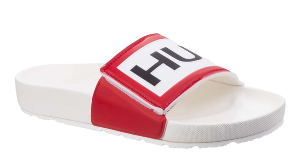 Hunter Original Adjustable Slide Mens Slip On Sandal White