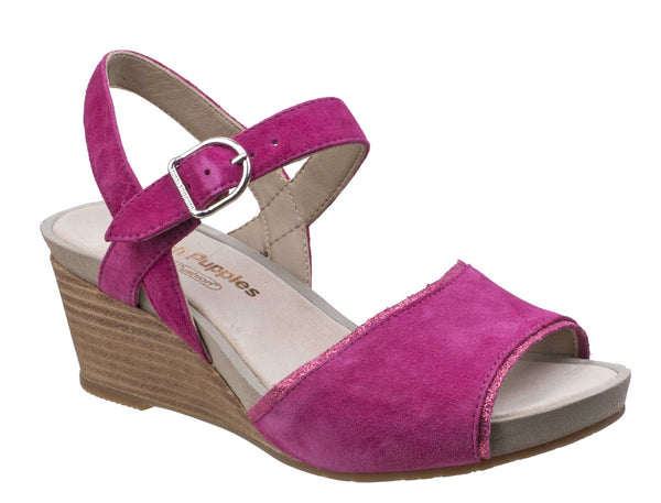 Hush Puppies Cassale Quarter Strap Womens Wedge Heeled Sandal Sangria
