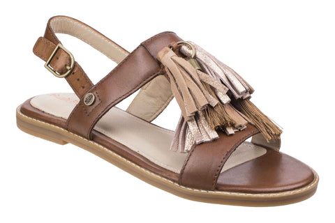 Hush Puppies Chrissie Tassel Womens Flat Slingback Sandal Tan