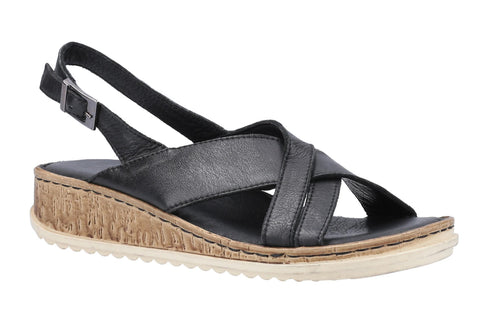 Hush Puppies Elena Cross Over Wedge Sandal Black