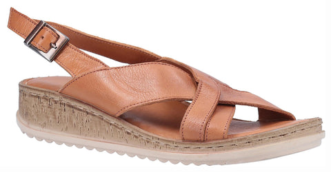 Hush Puppies Elena Cross Over Wedge Sandal Tan