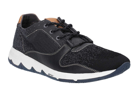 Hush Puppies Field Knit Lace Up Trainer Black