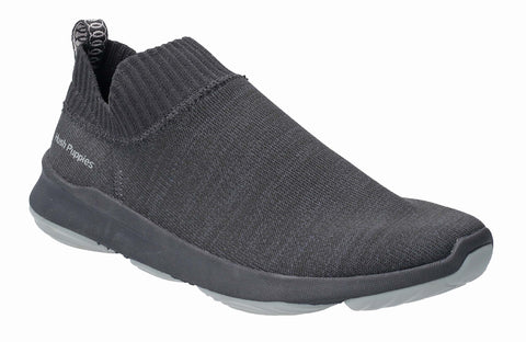 Hush Puppies Free BounceMAX Slip On Trainer Black Knit