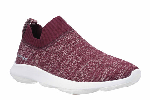Hush Puppies Free BounceMAX Slip On Trainer Dark Wine Knit