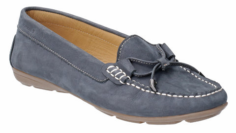 Hush Puppies Maggie Womens Nubuck Slip On Moccasin With Bow Trim