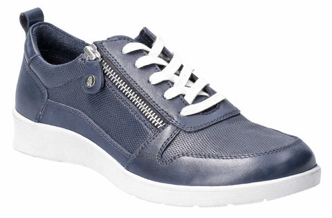 Hush Puppies Roo Zip Up Lace Up Trainer Navy