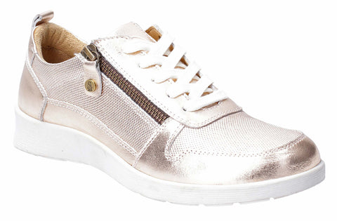 Hush Puppies Roo Zip Up Lace Up Trainer Rose