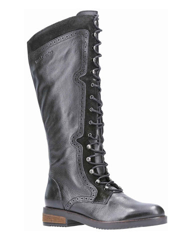 Hush Puppies Rudy Zip Up Lace Up Long Boot Black