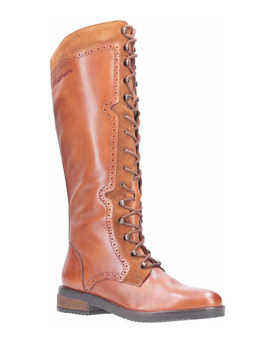 Hush Puppies Rudy Zip Up Lace Up Long Boot Tan