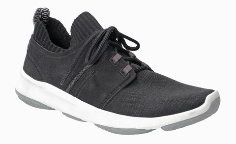 Hush Puppies World BounceMax Lace Up Trainer Black Knit
