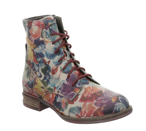 Josef Seibel Sanja 01 76501 Womens Floral Print Laced Ankle Boot