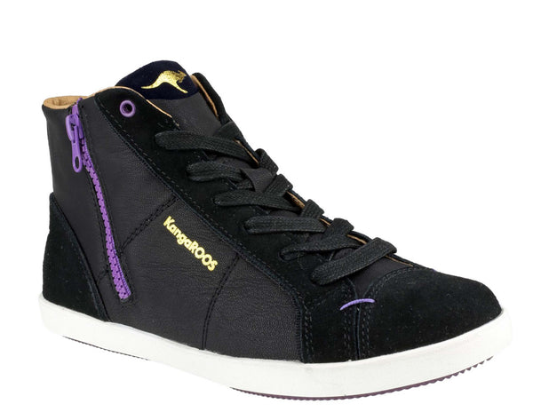 KangaROOS Candice K3593A Womens High Top Lace Up Sneaker Blk/Violet