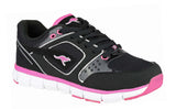 KangaROOS Neke KR3274A Womens Lace Up Trainer Black-Magenta