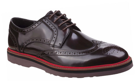 Lambretta Compton Brogue Lace Shoe Bordo Box Shine