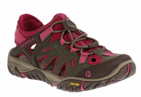 Merrell All Out Blaze Sieve (J65246) Womens Closed Toe Hiking Sandal Boulder/Fuscia