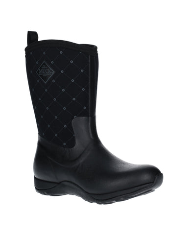 Muck Boots Arctic Weekend Pull On Wellington Boot Black Quilt