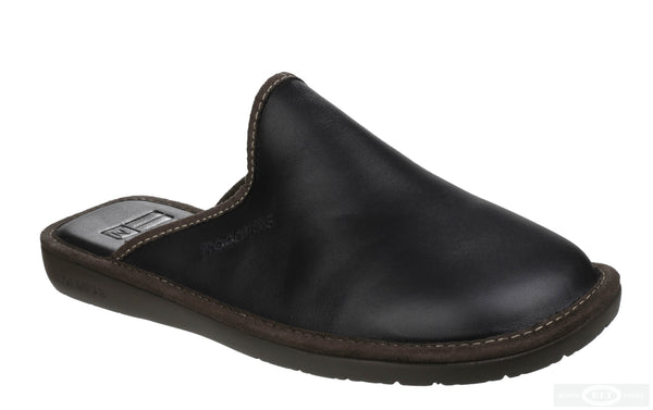 Nordikas Neil 131 Mens Leather Mule Slipper Black L