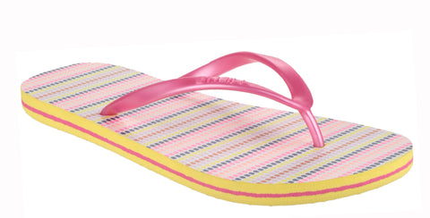 O'Neill Moya Stripe Womens Toe Post Flip Flop Pink