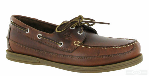 Orca Bay Fowey Mens Wide Fit 2 Eyelet Lace Up Deck Shoe Saddle