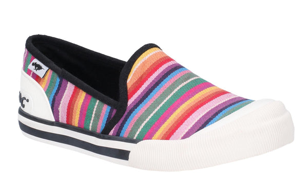 Rocket Dog Jazzing Slip Eden Stripe Slip On Beach Shoe Red Multi