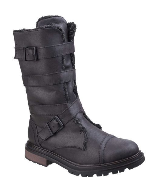 Rocket Dog Lance Womens Warm Lined Calf Length Winter Boot Black