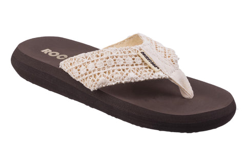 Rocket Dog Spotlight Womens Crochet Detail Summer Flip Flop Natural Lima