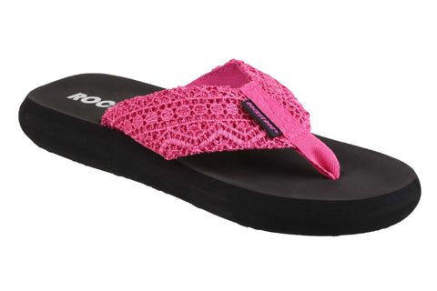 Rocket Dog Spotlight Womens Crochet Detail Summer Flip Flop Pink Lima