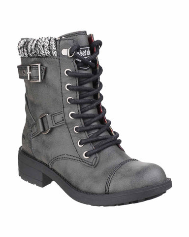 Rocket Dog Thunder Galaxy Womens Calf Length Lace Up Biker Boot Black