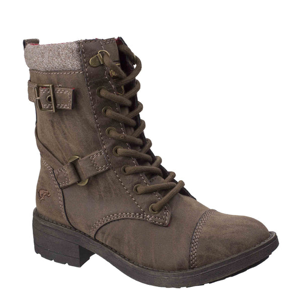 Rocket Dog Thunder Heirloom Womens Calf Length Lace Up Biker Boot Brown Heirloom