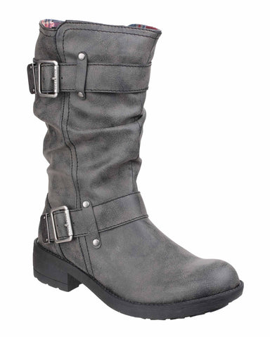 Rocket Dog Trumble Womens Buckle Detail Mid Calf Length Casual Boot Black