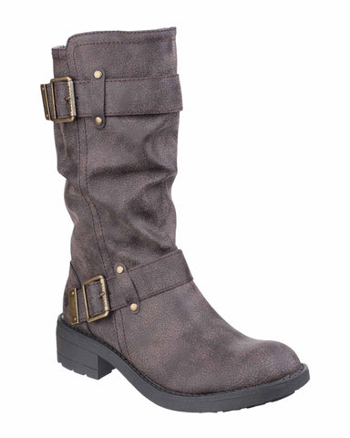 Rocket Dog Trumble Womens Buckle Detail Mid Calf Length Casual Boot Brown