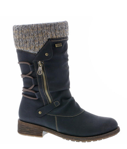 330e2640de085 Remonte D8070 Womens Mid Calf Length Warm Lined Water Resistant Casual Boot
