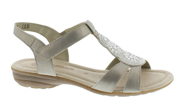 Remonte R3641 Womens Bead Detail Touch Fastening Sandal 90 Gold