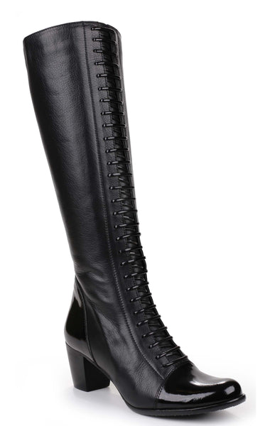 Riva Abano Womens Lace Detail Long Leg Dress Boot Black
