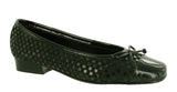Riva Andros Womens Suede and Patent Ballerina Black