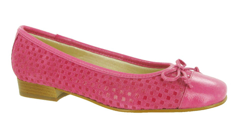 Riva Andros Womens Suede and Patent Ballerina Fuschia/Pat