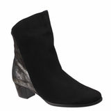 Riva Anita Womens Suede Leather And Metallic Detail Dress Ankle Boot Black S/Met