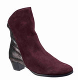 Riva Anita Womens Suede Leather And Metallic Detail Dress Ankle Boot Bordo S/Met