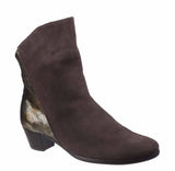 Riva Anita Womens Suede Leather And Metallic Detail Dress Ankle Boot Brown S/Met