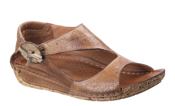 Riva Arlo Womens Patterned Leather Slip On Casual Sandal Brown