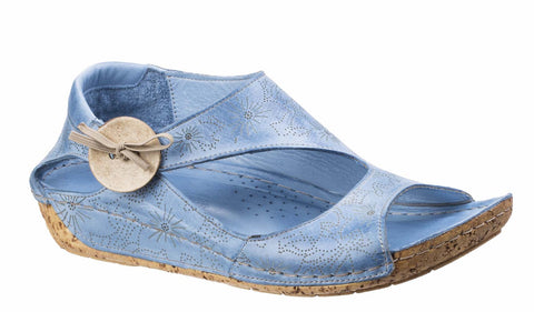 Riva Arlo Womens Patterned Leather Slip On Casual Sandal Denim