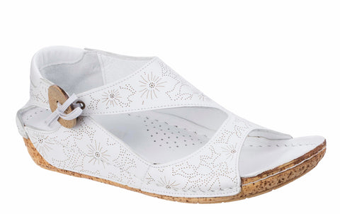Riva Arlo Womens Patterned Leather Slip On Casual Sandal White