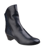 Riva Armadillo Pitone Womens Leather Dress Ankle Boot Navy